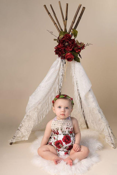 Kate Red Flower Teepee Backdrop Designed by Lisa Granden