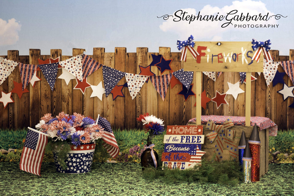 Katebackdrop£ºKate American Firework 4th of July Children Backdrop for Photography Designed by Stephanie Gabbard