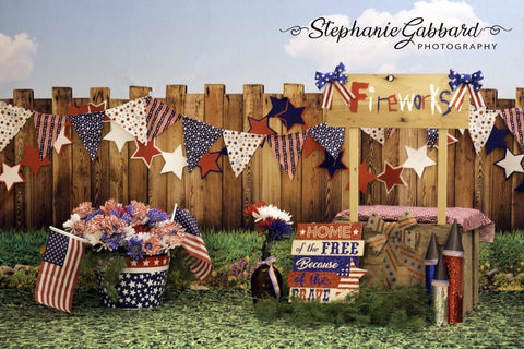 Kate American Firework 4th of July Children Backdrop for Photography Designed by Stephanie Gabbard