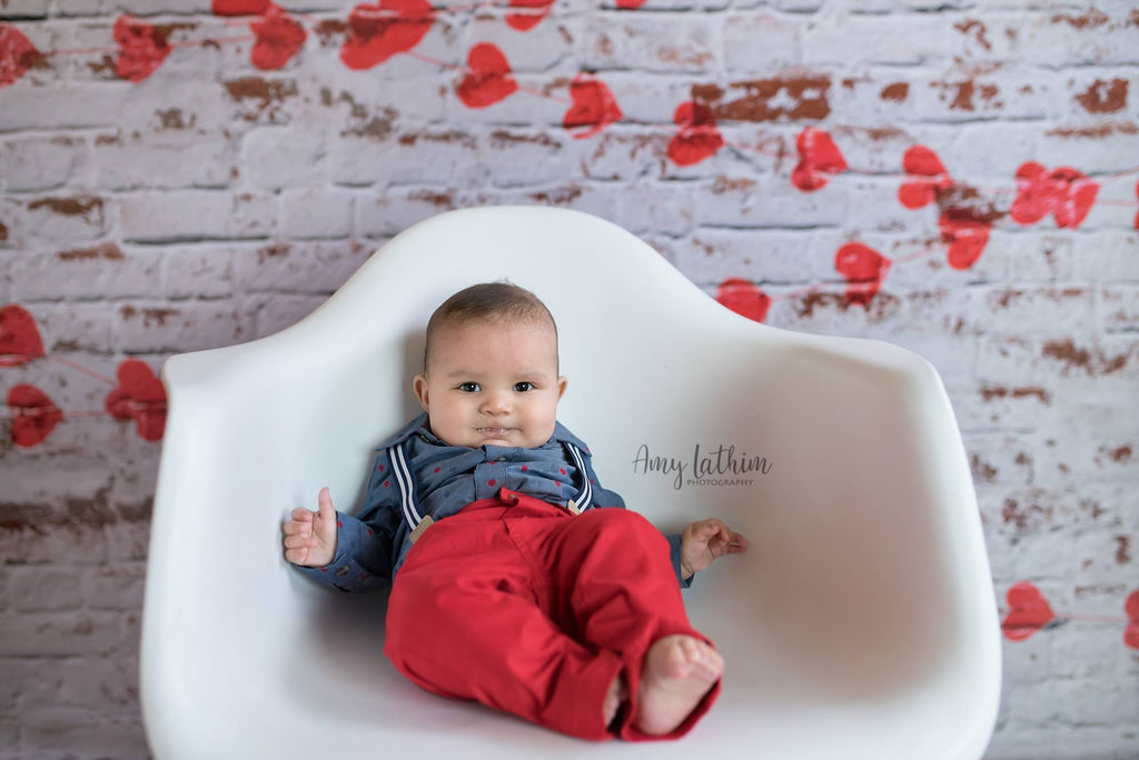 Kate white brick wall with red hearts Valentine's Day Backdrop for Photography designed by Jerry_Sina