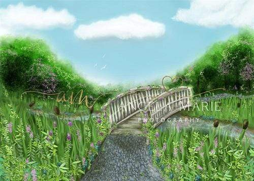 Katebackdrop:Kate Spring Scenery with Bridge Backdrop Designed By Angela Marie Photography