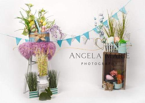 Kate Easter with Floral Decoration and Rabbit  Backdrop Designed By Angela Marie Photography