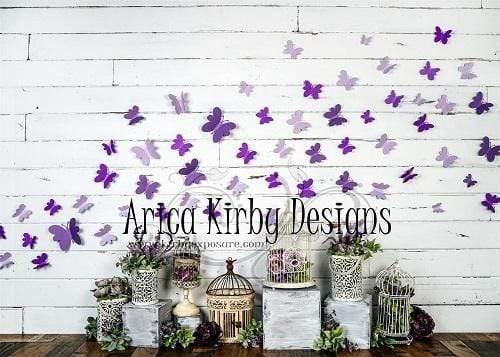 Katebackdrop:Kate Spring Purple Butterfly Plants White Wall Backdrop Designed By Arica Kirby