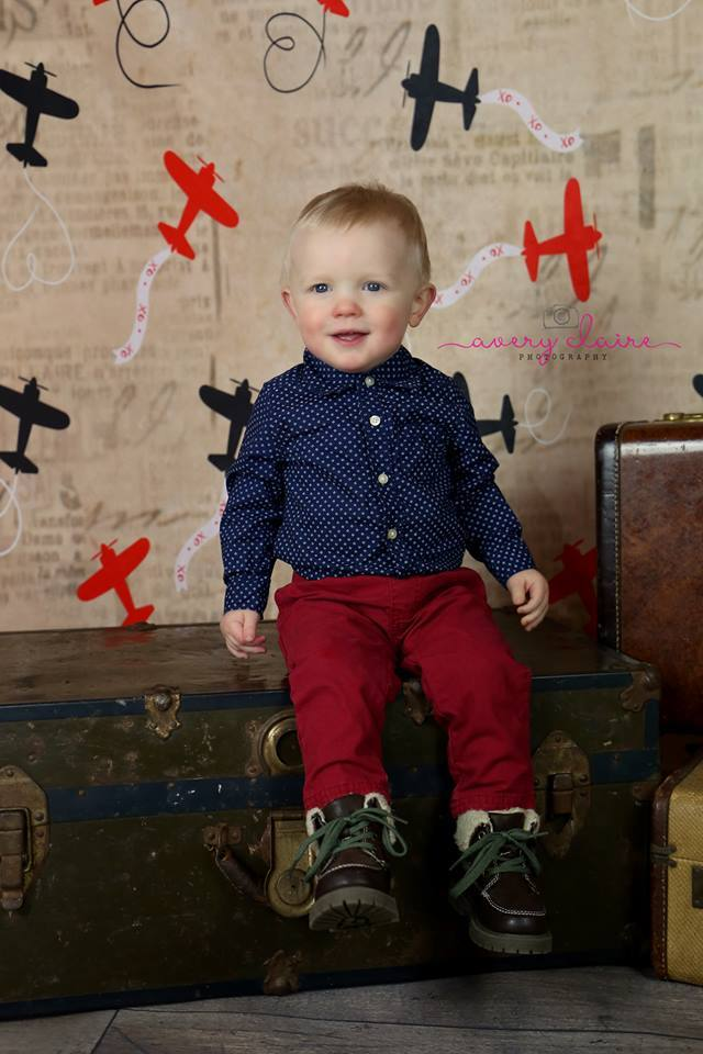 Load image into Gallery viewer, Kate Retro Planes Valentines Backdrop for Photography designed by Jerry_Sina