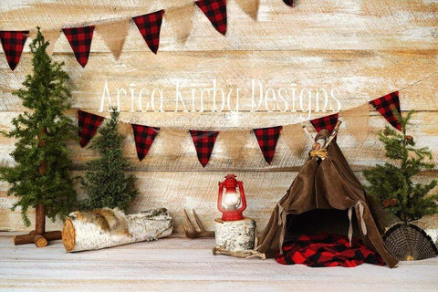 Kate Buffalo Plaid Adventures Christmas Backdrop Designed by Arica Kirby
