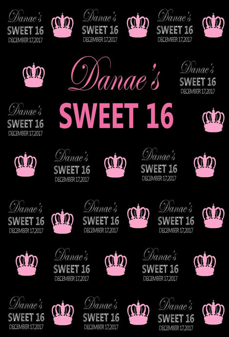 Katebackdrop:Kate Sweet 16 Birthday Party Step and Repeat with Pink Crown Blackbackdrop
