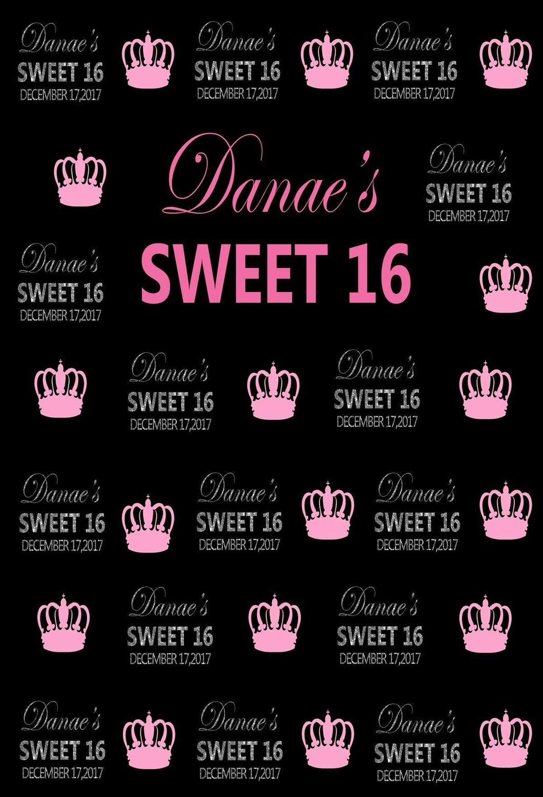 Katebackdrop£ºKate Sweet 16 Birthday Party Step and Repeat with Pink Crown Blackbackdrop