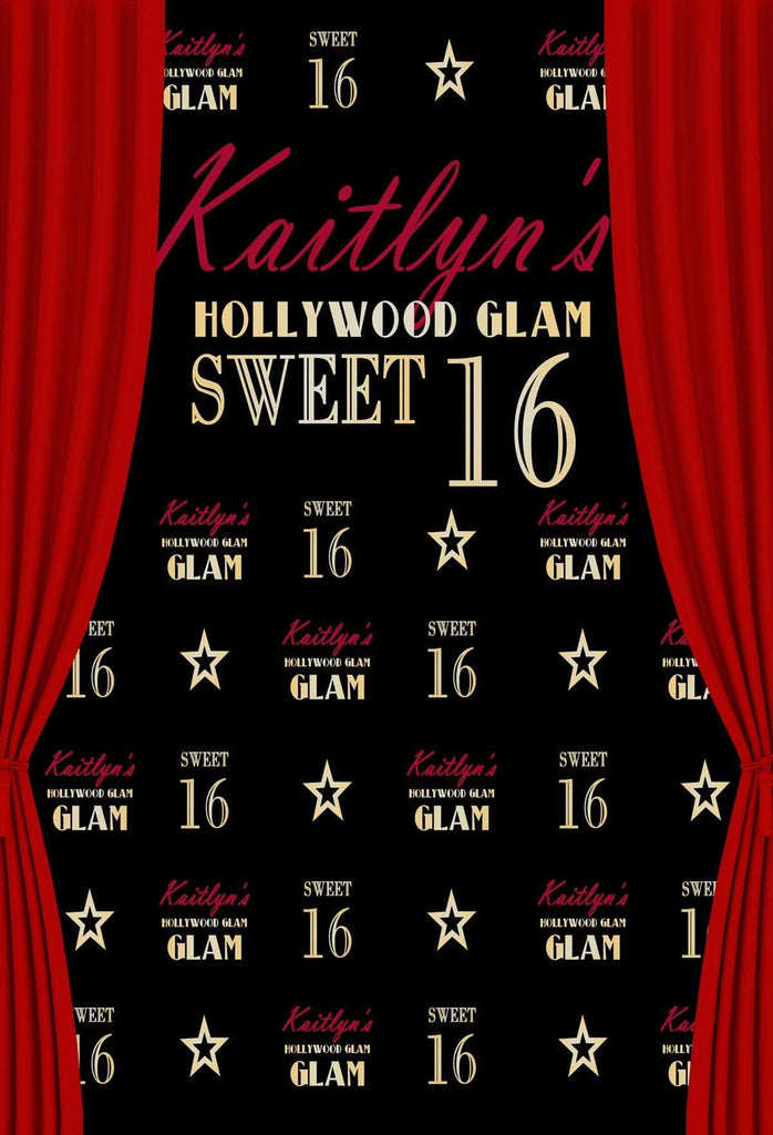 Katebackdrop£ºKate Sweet Sixteen Birthday Party Black Backdrop Red Curtain Step and Repeat