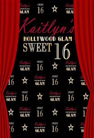 Katebackdrop:Kate Sweet Sixteen Birthday Party Black Backdrop Red Curtain Step and Repeat