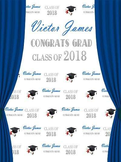 Katebackdrop:Kate Custom Graduation Class Backdrop Blue Curtains Step and Repeat Backdrops