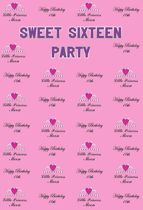 Katebackdrop:Kate Sweet Sixteen Birthday Party Pink Backdrop with love Crown Step and Repeat