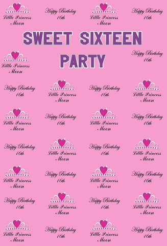 KatebackdropKate Sweet Sixteen Birthday Party Pink Backdrop With Love Crown Step And Repeat