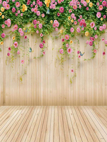 Katebackdrop:Kate Wedding Wood Wall Colorful Flowers Backdrop