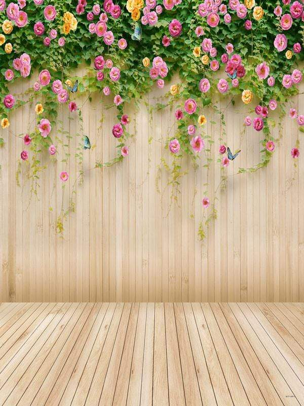 Katebackdrop£ºKate Flower Backdrop wood Floral Background photography US