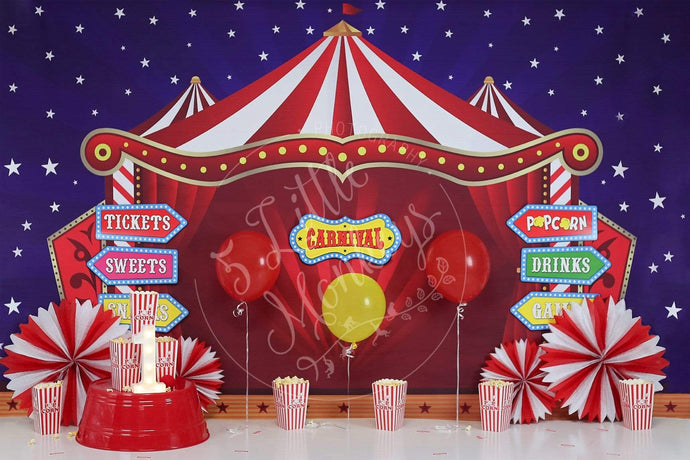 Katebackdrop:Kate Cake Smash Carnival Backdrop with Balloon for Photography Designed By Sherie Skelly