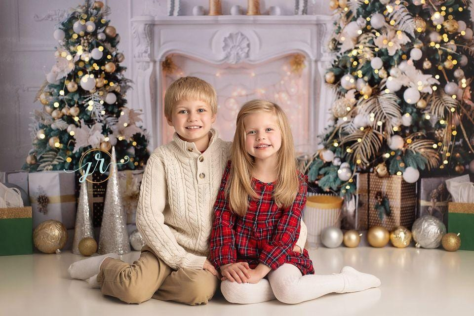 Kate Christmas White Room Pinetrees Gifts Decoration Backdrop for Photography
