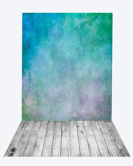 Katebackdrop¡êoKate green blue textured backdrop+gray wood floor mat