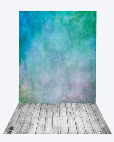 Katebackdrop:Kate green blue textured backdrop+gray wood floor mat