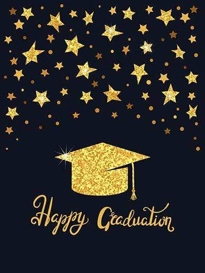 Katebackdrop£ºKate Graduation Ceremony Golden Doctor Cap with Golden Stars Backdrop