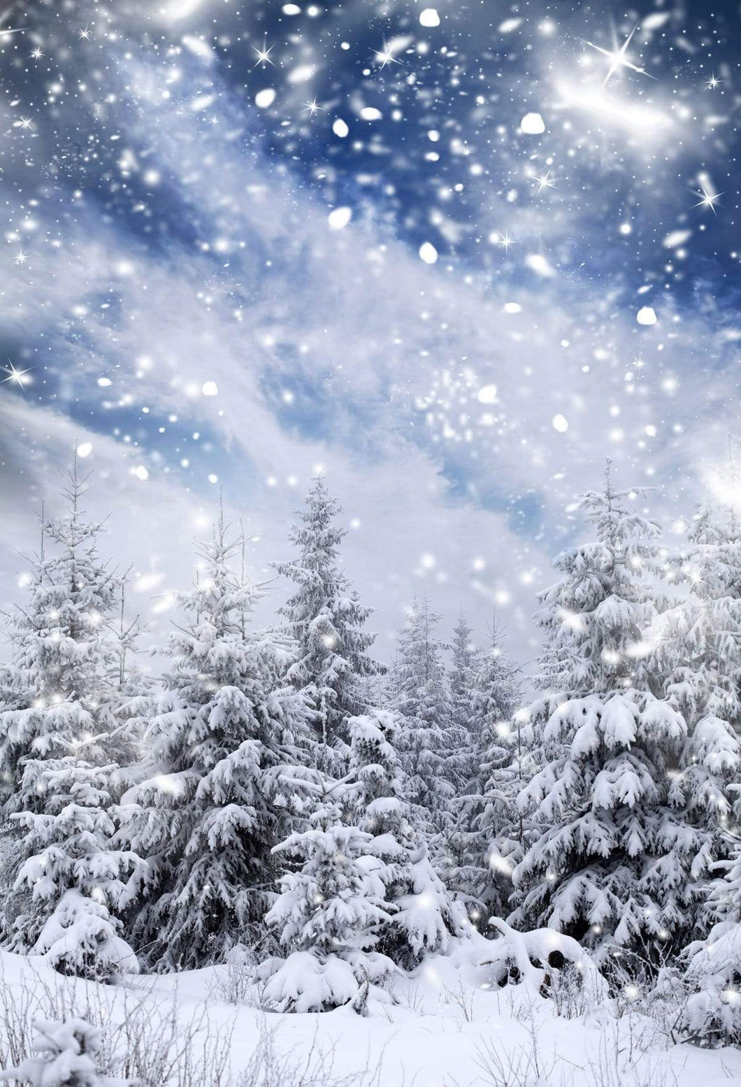 Katebackdrop£ºKate Winter Wonderland Forest With Snowflakes for Photography