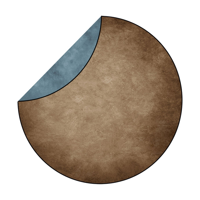 RTS: Kate Abstract Brown/ Blue Mixed Round Collapsible Backdrop 5x5ft(1.5x1.5m)