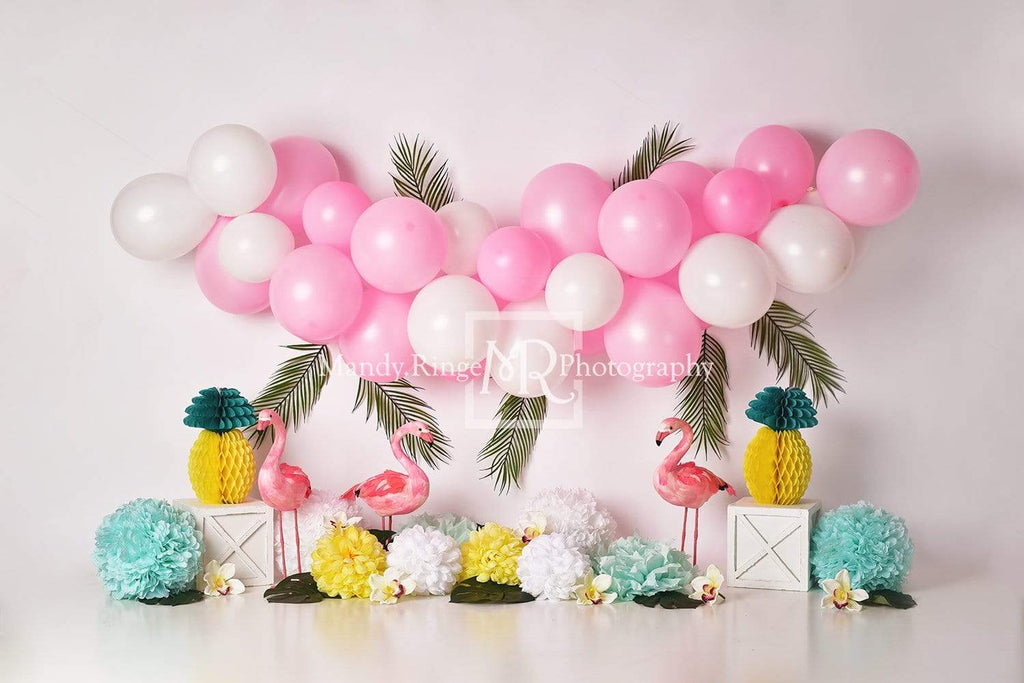 Katebackdrop£ºKate Balloons Flowers Flamingo Summer Backdrop for Photography Designed by Mandy Ringe Photography
