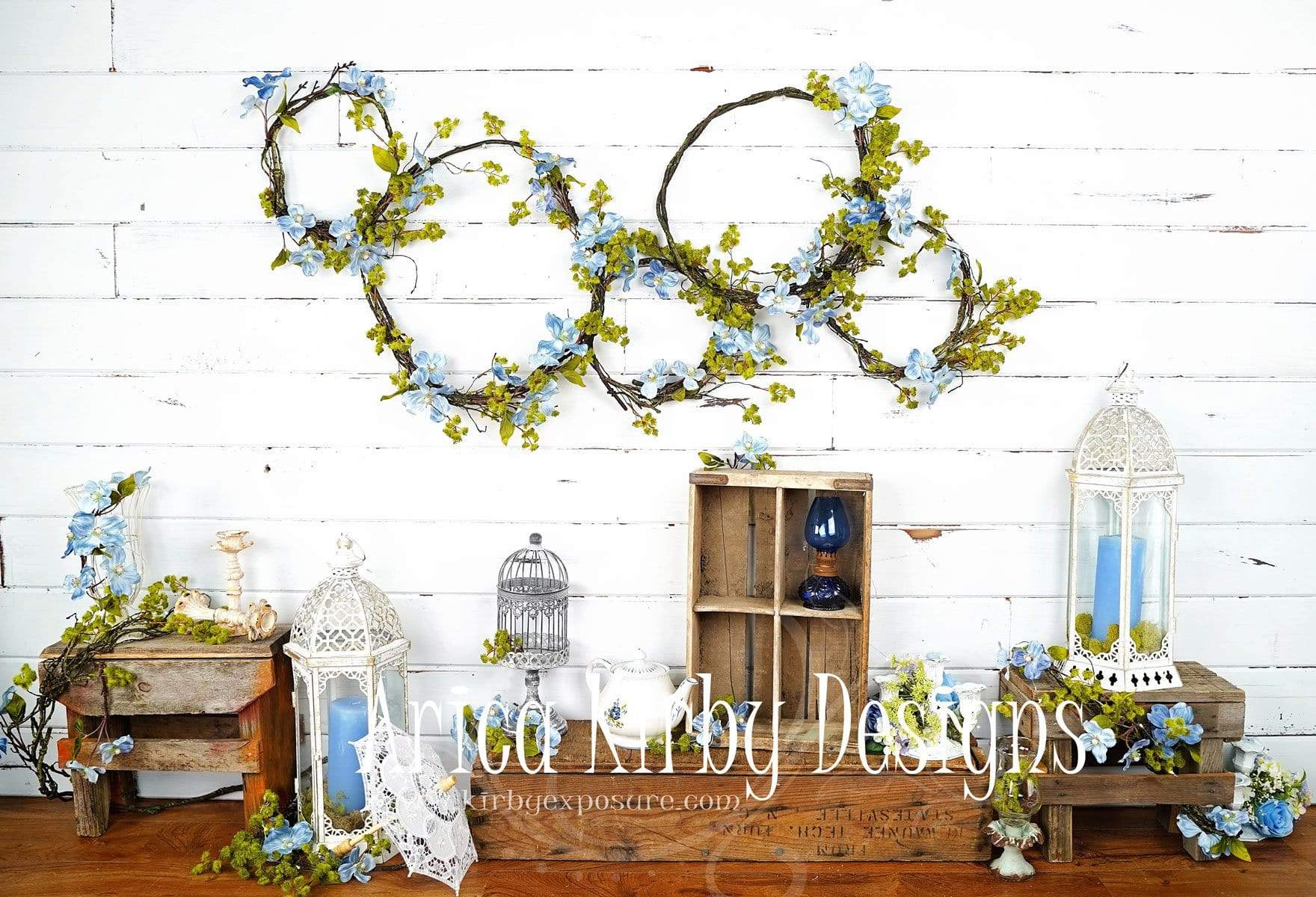Load image into Gallery viewer, Katebackdrop£ºKate Enchanted Blue Floral Wreaths Backdrops Designed by Arica Kirby
