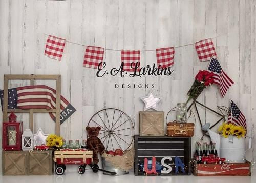 Kate 4th of July American Wbanner Backdrop for Photography Designed By Erin Larkins