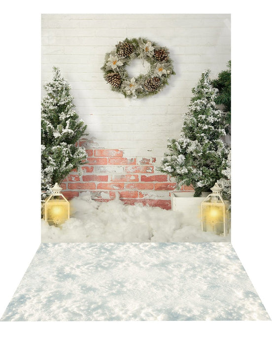 Kate Christmas Backdrop+ Snow Rubber Floor Mat