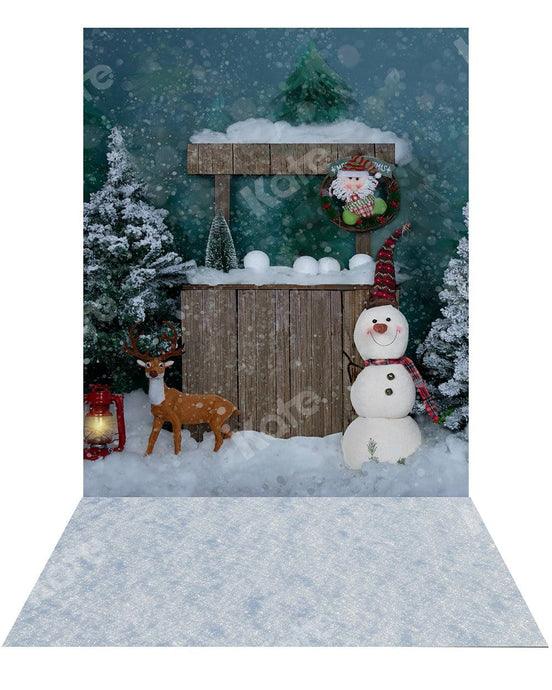 Kate Christmas Snowman Backdrop+ Snow Rubber Floor Mat