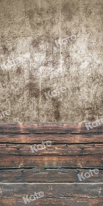 Kate Sweep Backdrop Old Cement Wall Wood Floor for Photography