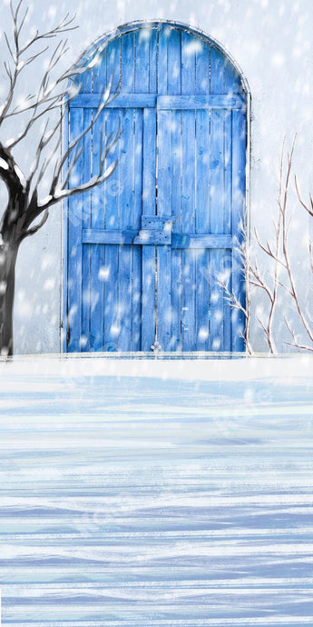 Kate Sweep Winter Snow Blue Door Backdrop Designed by Chain Photography