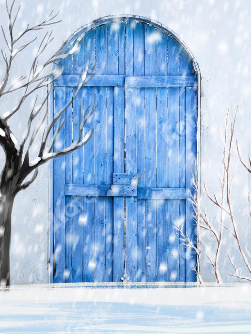 Kate Winter Snow Blue Door Backdrop Designed by Chain Photography