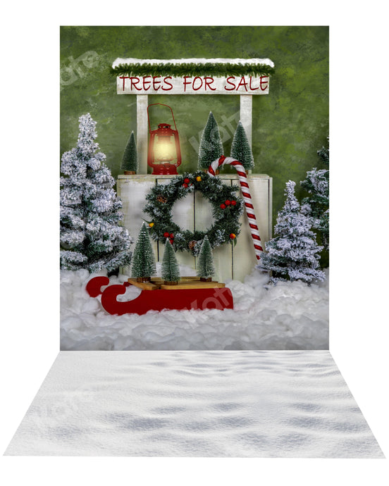 Kate Christmas Tree Stand Backdrop+ Snow Rubber Floor Mat