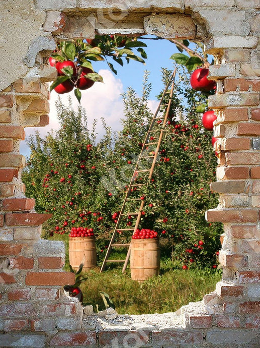 Kate Apple Orchard Backdrop with Broken Wall Designed by Chain Photography