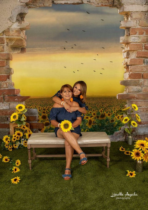 Kate Sunflower Field Backdrop with Broken Wall Designed by Chain Photography