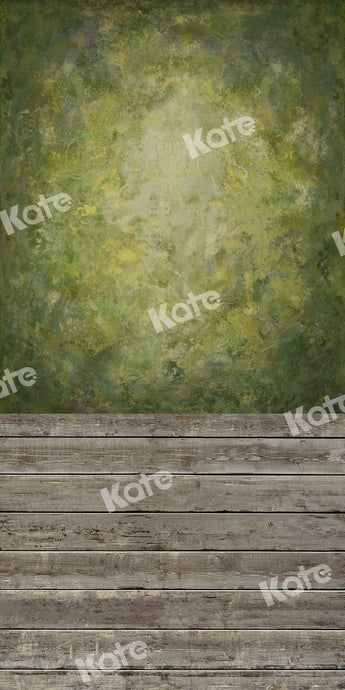 Kate Sweep Backdrop Green Abstract Wall Wood Floor for Photography