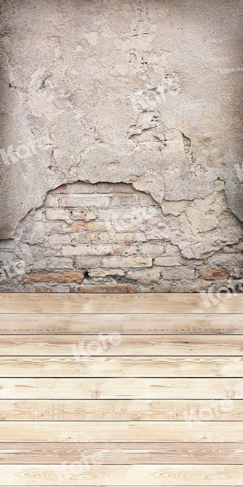 Kate Sweep Backdrop Brick Wall Cream Wood Floor for Photography