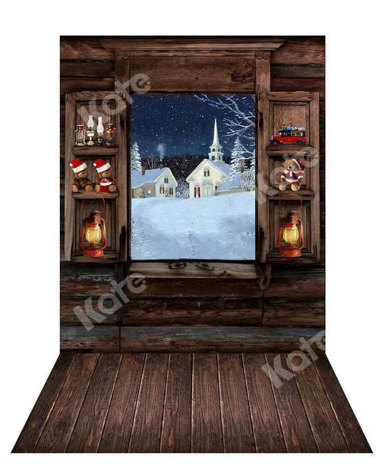 Kate Christmas Lights Window Backdrop+ Wood Rubber Floor Mat