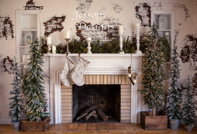 Kate Fireplace with Trees Backdrop Designed by Keerstan Jessop