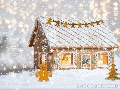 Katebackdrop:Kate Christmas Snowy Gingerbread House Children Backdrop Designed By Ava Lee