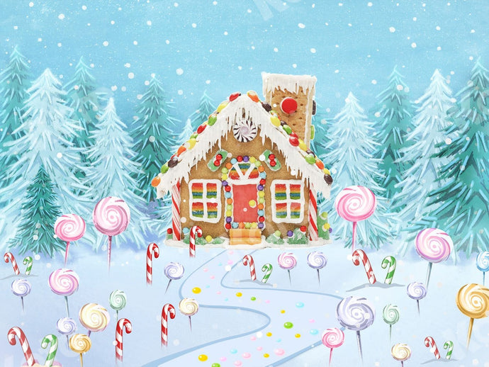 Kate Christmas Candy Gingerbread House Backdrop Designed By JS Photography