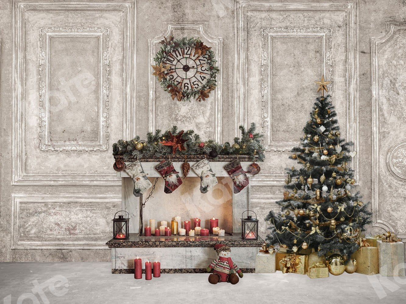 Kate 8/×8ft Christmas Photography Backdrop Dark Wood Fireplace Christmas Deer Xmas Background for Christmas Happy New Year Decoration Photography
