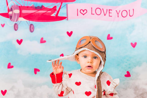 Kate Sky Love Plane Backdrop for Valentines designed by Jerry_Sina