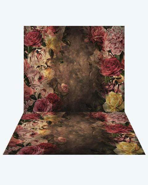 Katebackdrop¡êoKate Vintage Flower Backdrop + Vintage Flower Rubber Floor Mat
