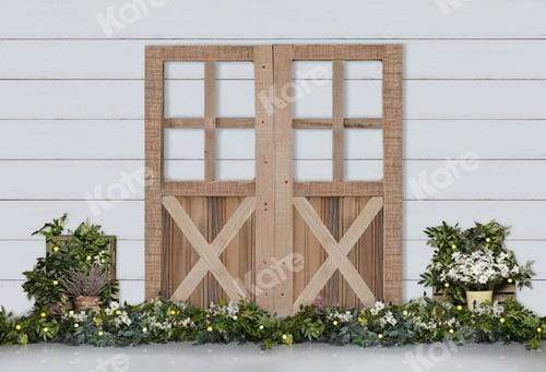 Kate Wood Door Backdrop with Plants for Photography
