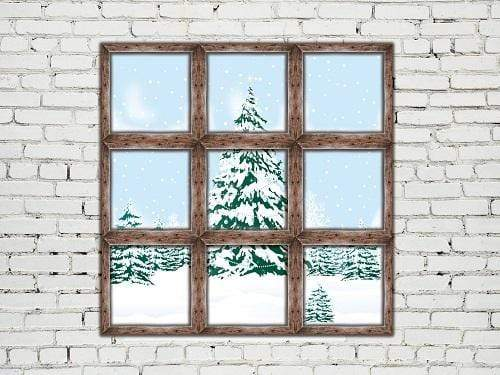 Katebackdrop:Kate Christmas Snowy Window View Brick Wall Backdrop for Photography Designed By Jerry_Sina