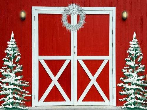 Katebackdrop:Kate Christmas Entry with Red Barn Backdrop Designed By Jerry_Sina