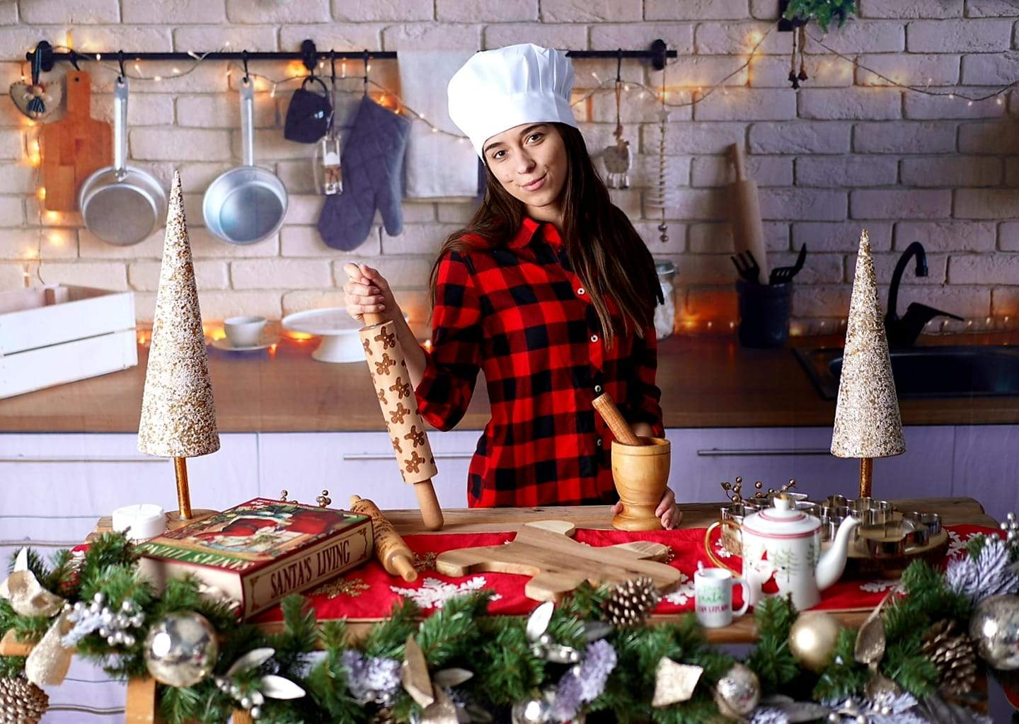 Load image into Gallery viewer, Kate White Brick Wall Christmas Kitchen  Backdrop Designed By Jerry_Sina