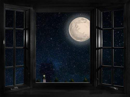 Katebackdrop£ºKate Window Night with Moon and Star View Backdrop Designed By Jerry_Sina